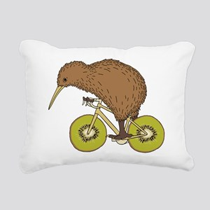Kiwi Riding Bike With Ki Rectangular Canvas Pillow